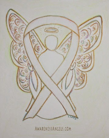 Awareness Ribbon White Angel Art Picture