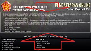 Formulir Pendaftaran TNI AD AL AU secara Online