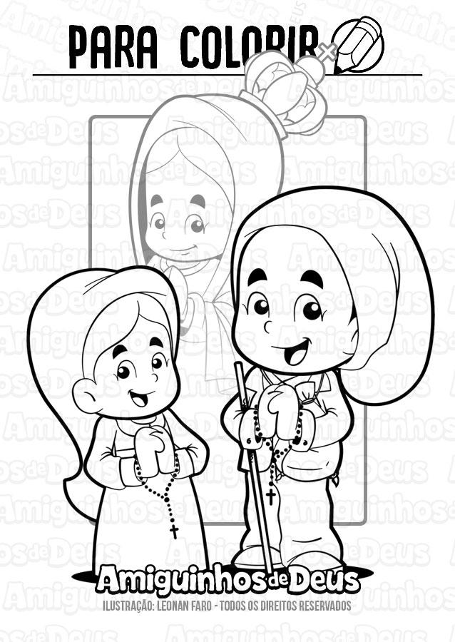 santo francisco e santa jacinta desenho para colorir