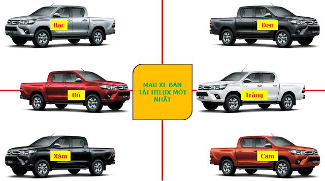 Màu xe bán tải Toyota Hilux 2018 mới nhất tại Toyota Hùng Vương