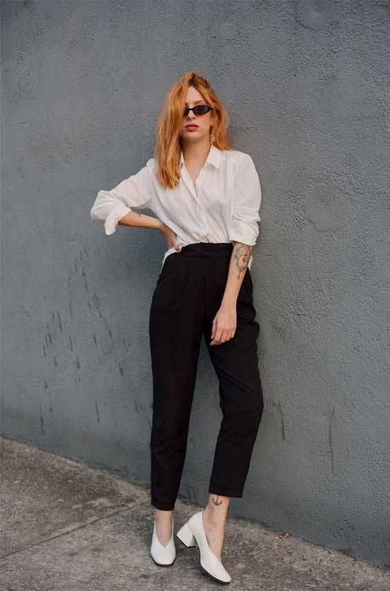 como usar calça alfaiataria preta e camisa branca