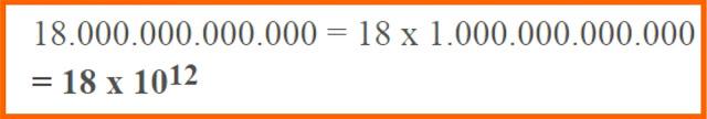 Ubahlah bilangan 18.000.000.000.000 menjadi bilangan berpangkat