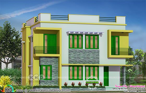 Colorful 5 bedroom flat roof home design 2023 sq-ft