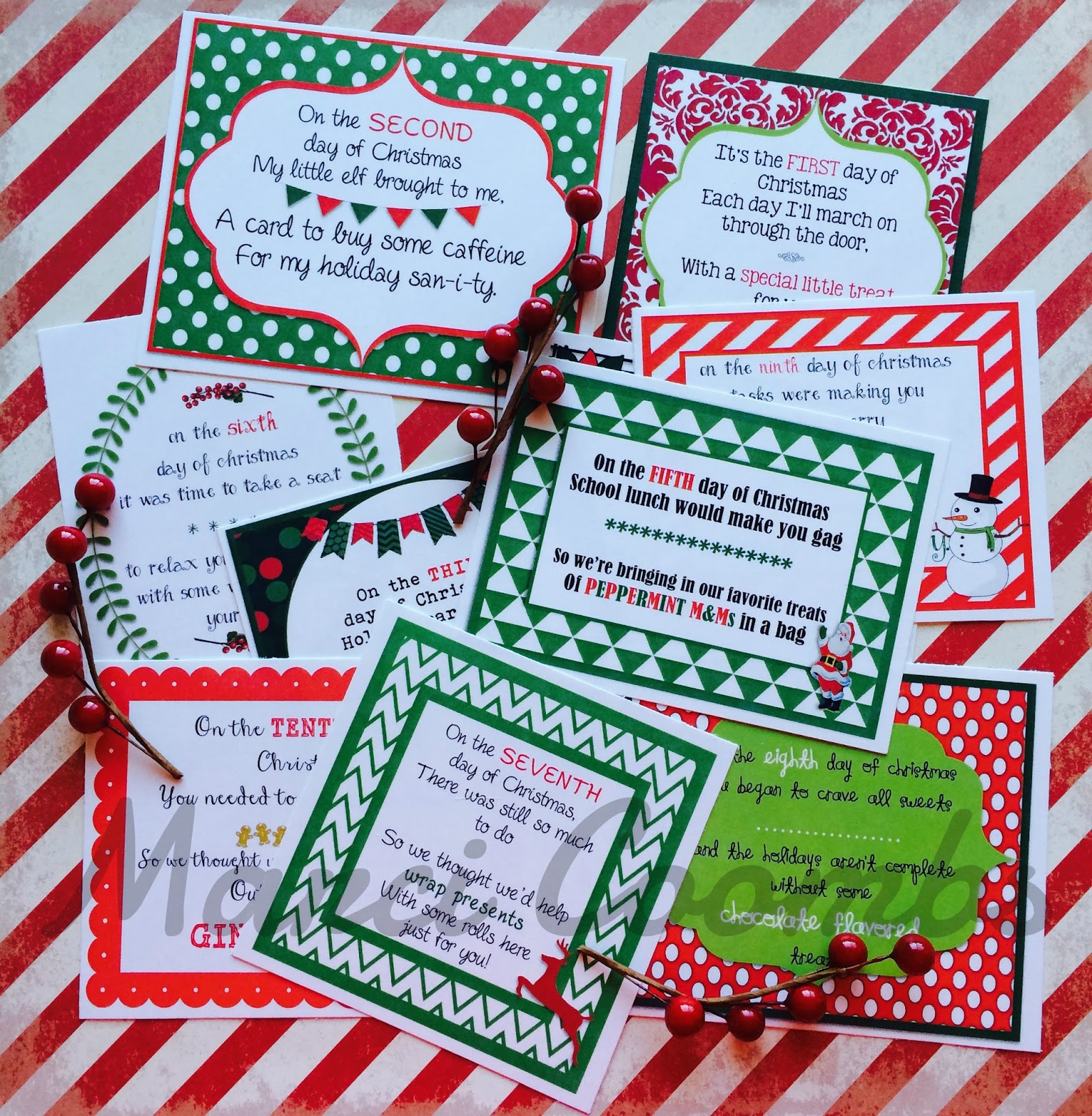 Marci Coombs 12 Days Of Christmas Printable Tags Other Christmas Printables Back In My Etsy Shop
