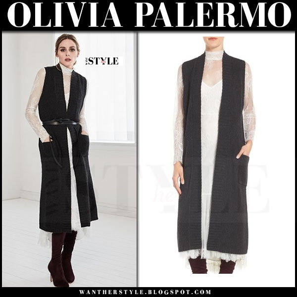 Olivia Palermo in white lace dress and black knit sleeveless coat chelsea28 what she wore