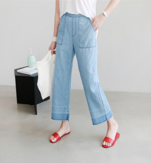 Blue Semi-Elastic Waist Wide Leg Pants