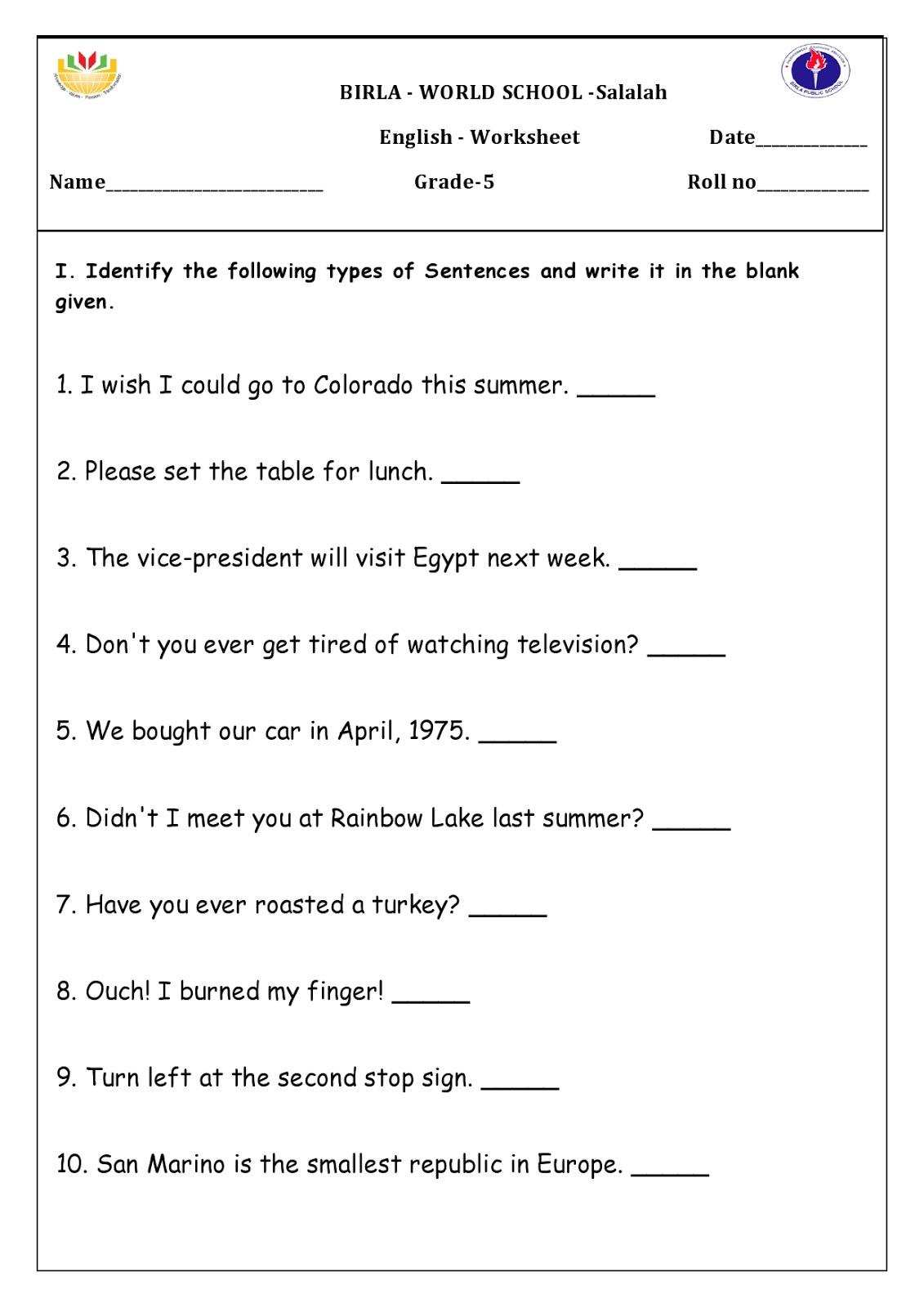Birla World School Oman Homework For Grade 5b On 19 05 16