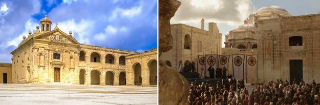 Benteng Manoel di Malta, diubah dalam GOT menjadi arena kematian Ned Stark; gambar dari Fritz Photography (kiri) dan Game of Thrones Wiki (kanan).