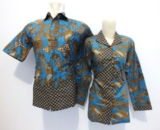 Kemeja batik kombinasi polos untuk pasangan