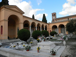 The Campo Verano cemetery in Rome has many highly elaborate and ornate tombstones
