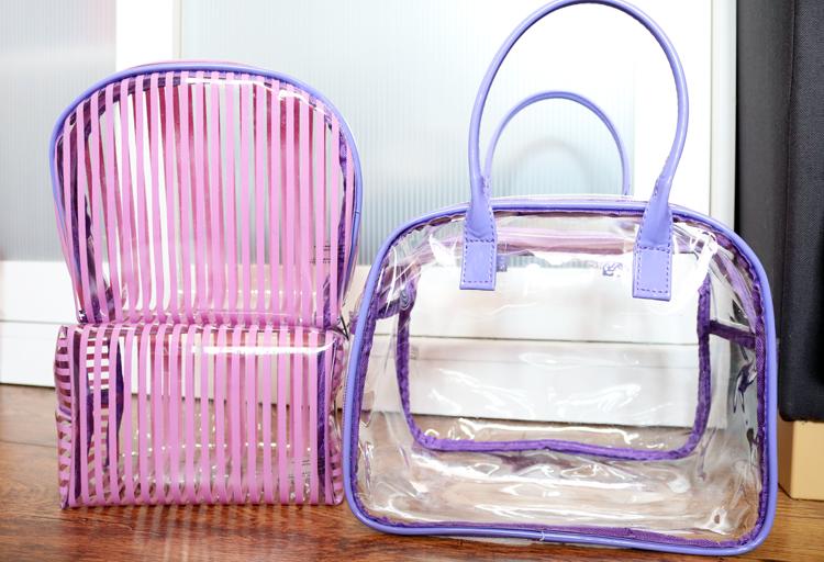 The New Holiday Toiletries Bags  Superdrug Lilac Stripe PVC Bag Set ... 1f390a0cb6097