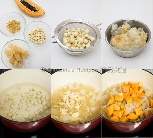 Papaya and Snow Ear Dessert Soup Procedures