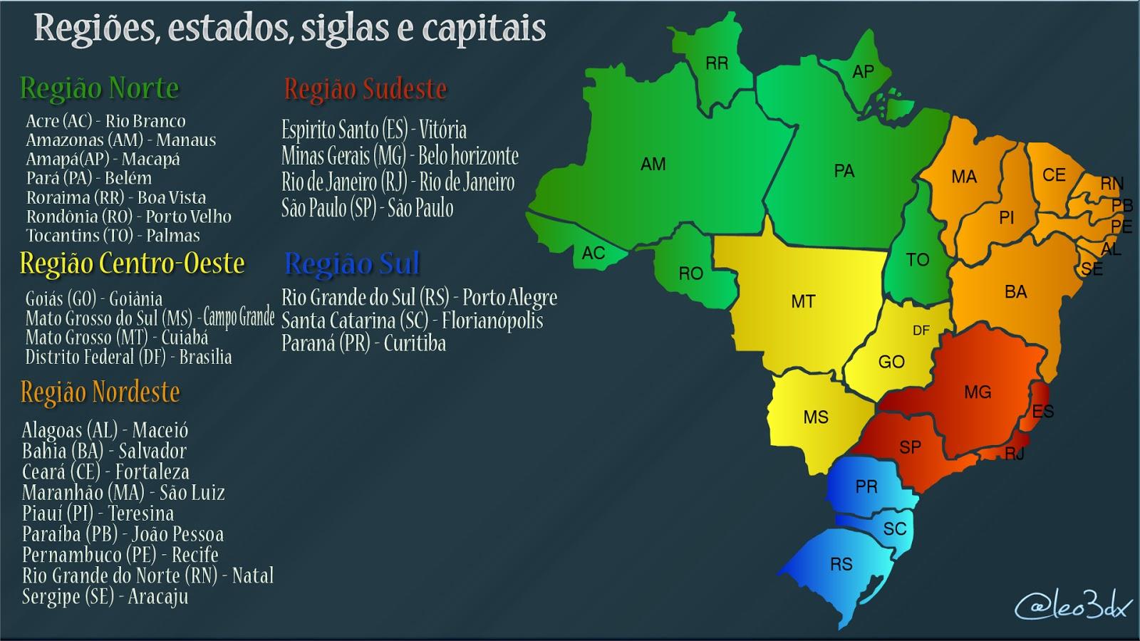 Muitas vezes Regiões, estados, siglas e capitais | Leônidas Felipe BV81
