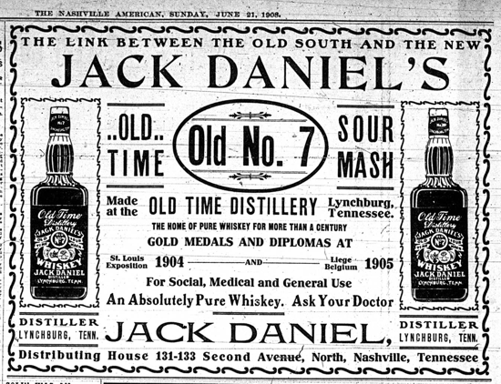 Jack Daniel's advertising 1908, The Nashville American