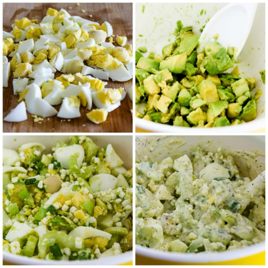 Low-Carb and High Protein Avocado Egg Salad (with Cottage Cheese) found on KalynsKitchen.com