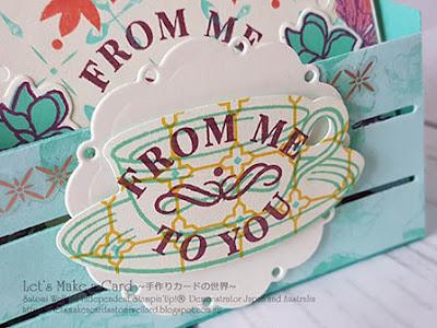 Mini Box for Time for Tea 3x3minni cards and matching envelopes  Satomi Wellard-Independent Stampin'Up! Demonstrator in Japan and Australia, #su, #stampinup, #cardmaking, #papercrafting, #rubberstamping, #stampinuponlineorder, #craftonlinestore, #papercrafting  #timefortea #miincardsandmatchiingenvelopes  #woodcratedie #スタンピン #スタンピンアップ #スタンピンアップ公認デモンストレーター #ウェラード里美 #手作りカード #スタンプ #カードメーキング #ペーパークラフト #スクラップブッキング #ハンドメイド #オンラインクラス #スタンピンアップオンラインオーダー #スタンピンアップオンラインショップ  #動画 #フェイスブックライブワークショップ #タイムフォーティー #サンキューカード #ウッドクレートダイ