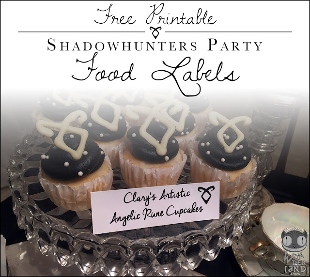Free Printable:  Shadowhunters Party Food labels from Alice Scraps Wonderland | Visit her blog to download these Mortal Instruments inspired food labels for your next Shadowhunters party!