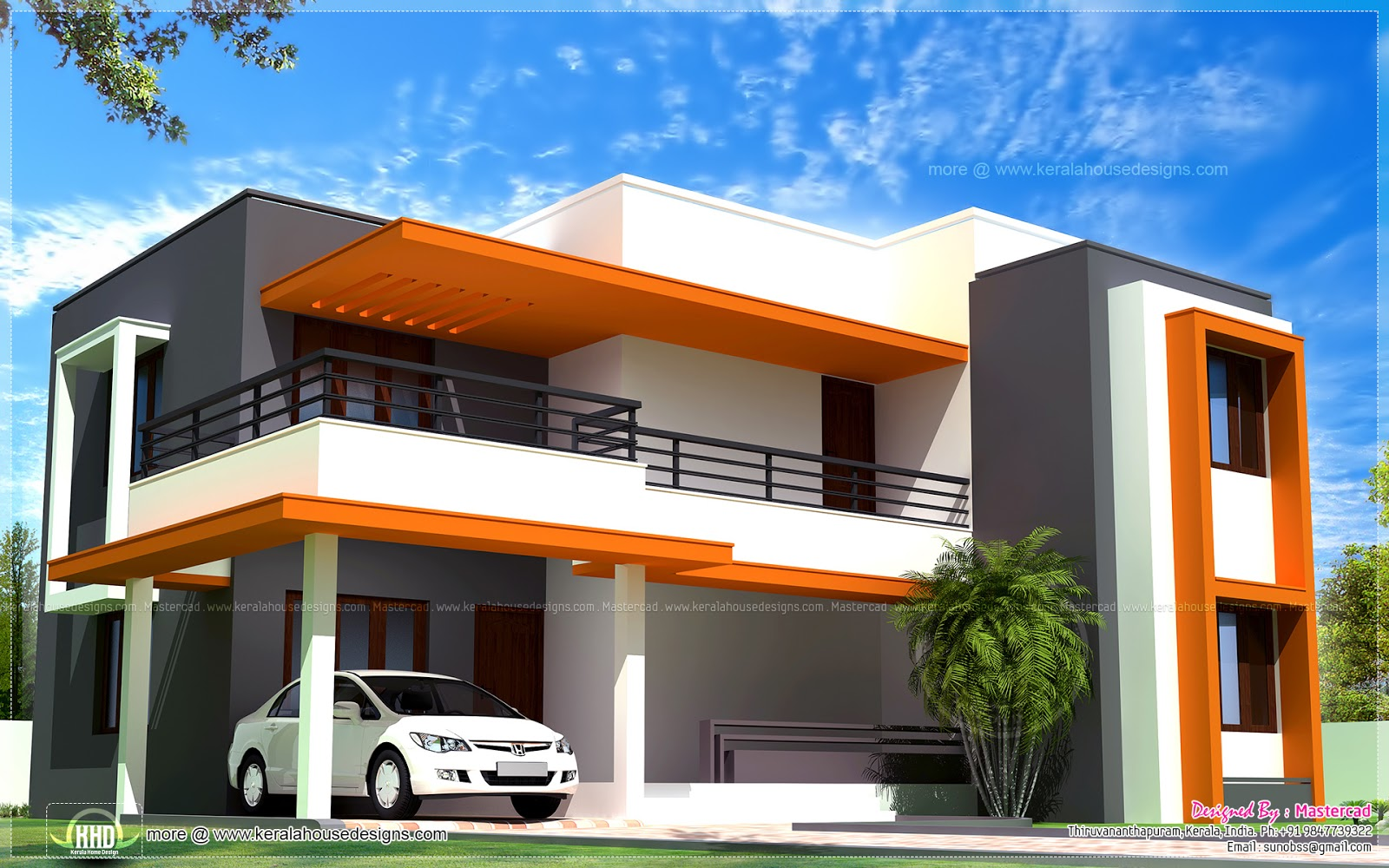 1946 sq ft contemporary style villa home kerala plans for Modern kerala style house plans with photos