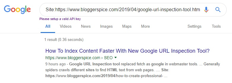 Blog Post Index status on Google Search
