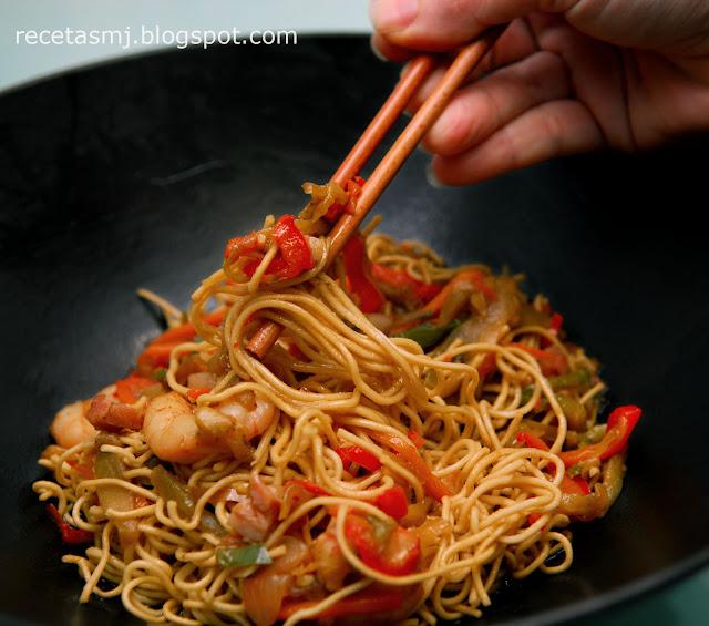 Noodles Con Gambas Y Bacon Las Recetas De Mj