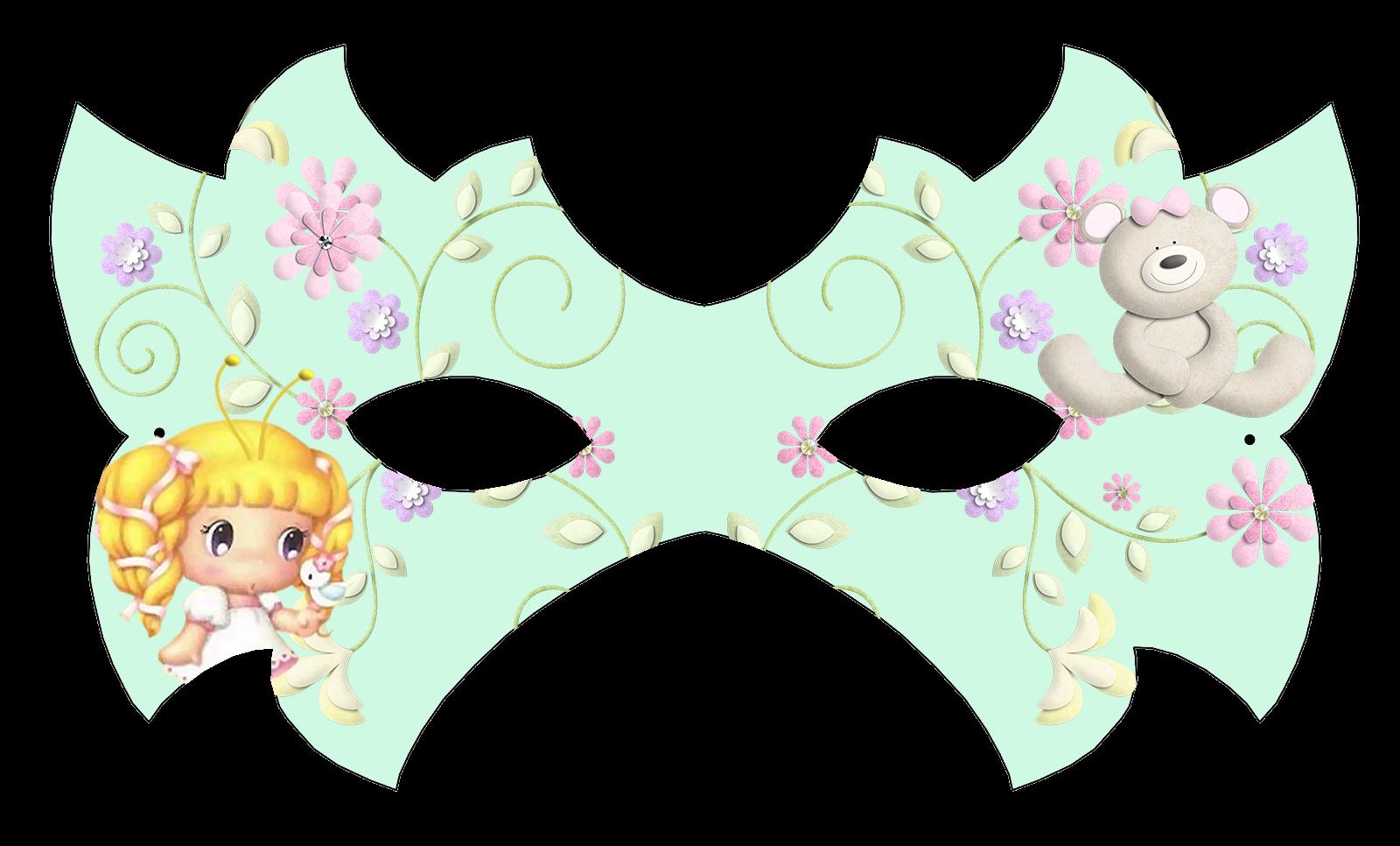 Girl and Bear Free Printable Mask.