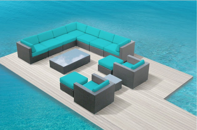 Luxxella Outdoor Patio Venus 13 Pcs Couch Modern Turquoise Furniture All Weather Wicker Sofa Set