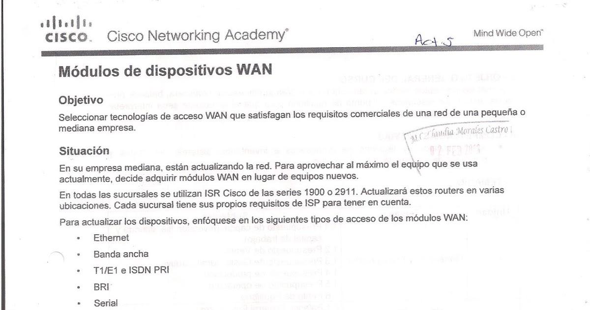 Redes Wan Actividad 5 Dispositivos Wan