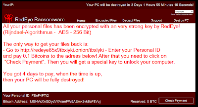 RedEye Ransom message