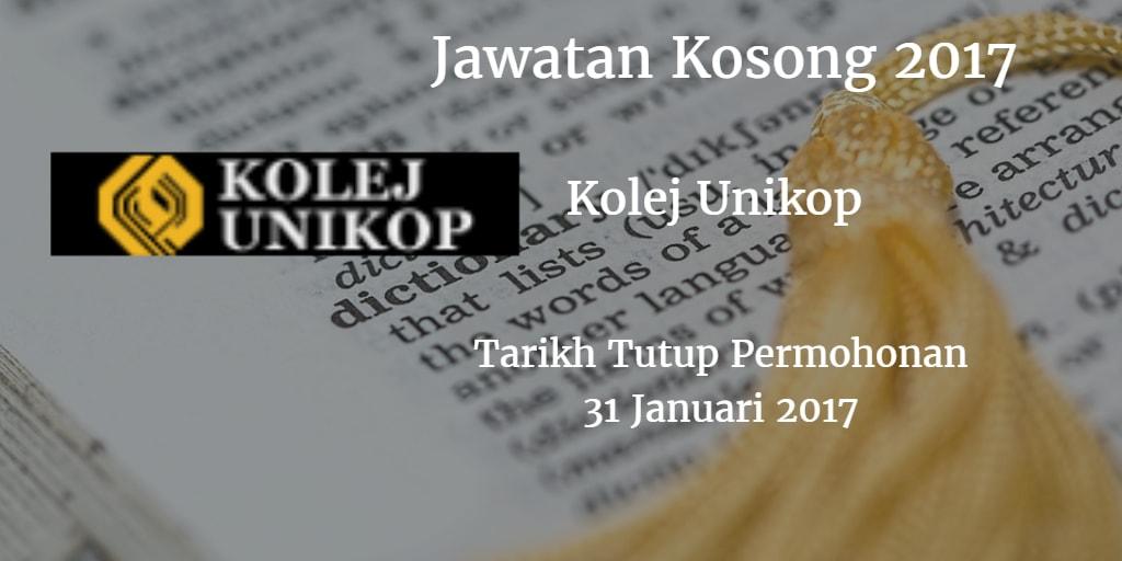 Jawatan Kosong Kolej Unikop 31 Januari 2017