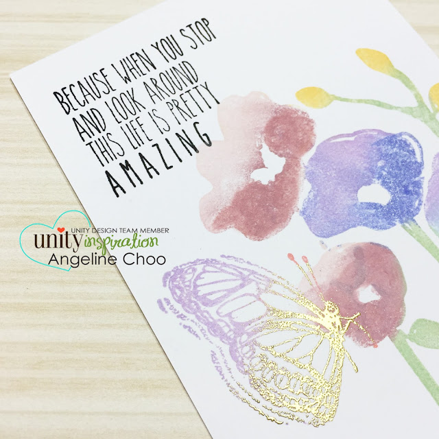 ScrappyScrappy: Faux Watercolor Painted Poppies #unitystampco #scrappyscrappy #poppy #watercolor #chalkink #flowers #card #papercraft #cardmaking #emboss #butterfly #gold