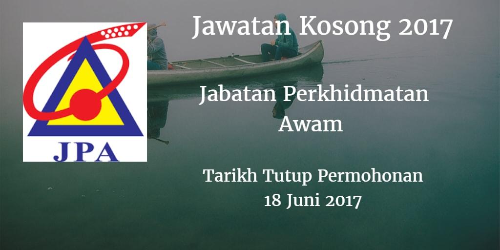 Jawatan Kosong JPA 18 Juni 2017