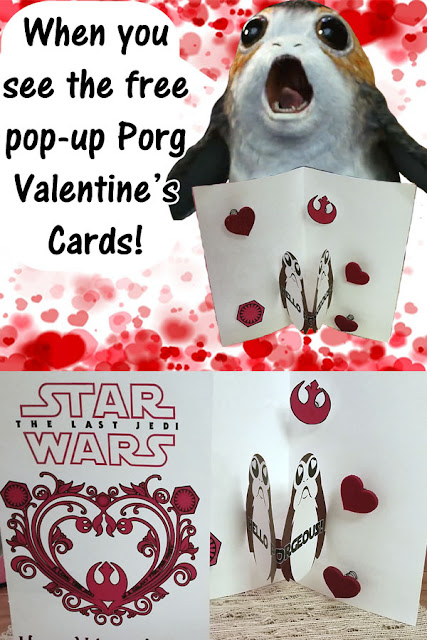 Porg Valentine's Day Pop-Up Cards - Star Wars Theme