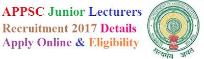 APPSC Junior Lecturer (JL) Recruitment Notification 2017 Apply Online for psc.ap.gov.in