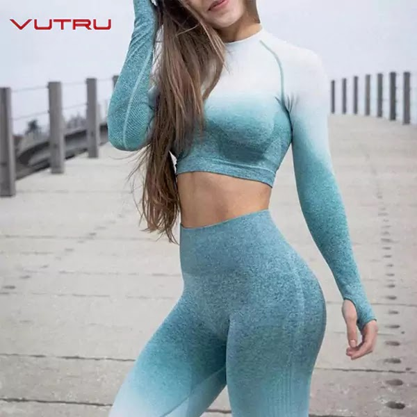 Best Women Yoga Set Ombre Seamless Leggings