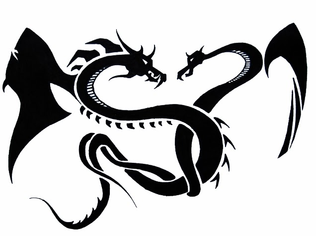 Dragons fighting tattoo stencil