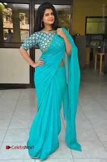 Telugu Actress Alekhya Stills in Green Saree at Swachh Hyderabad Cricket Press Meet  0094.JPG