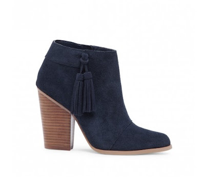 sole society navy ankle heeled bootie with tassels