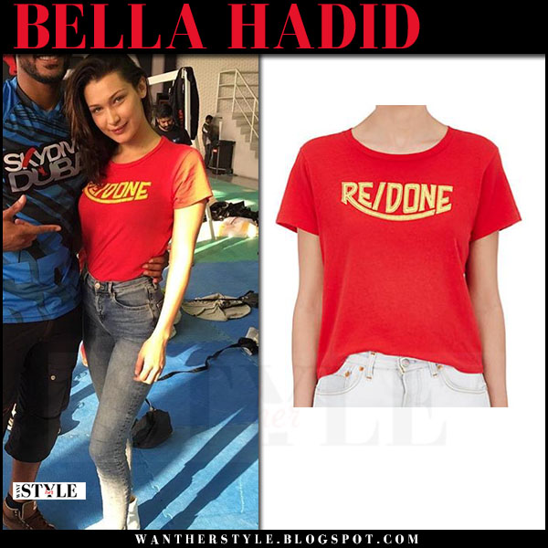 Bella Hadid in red logo t-shirt what she wore april 2017