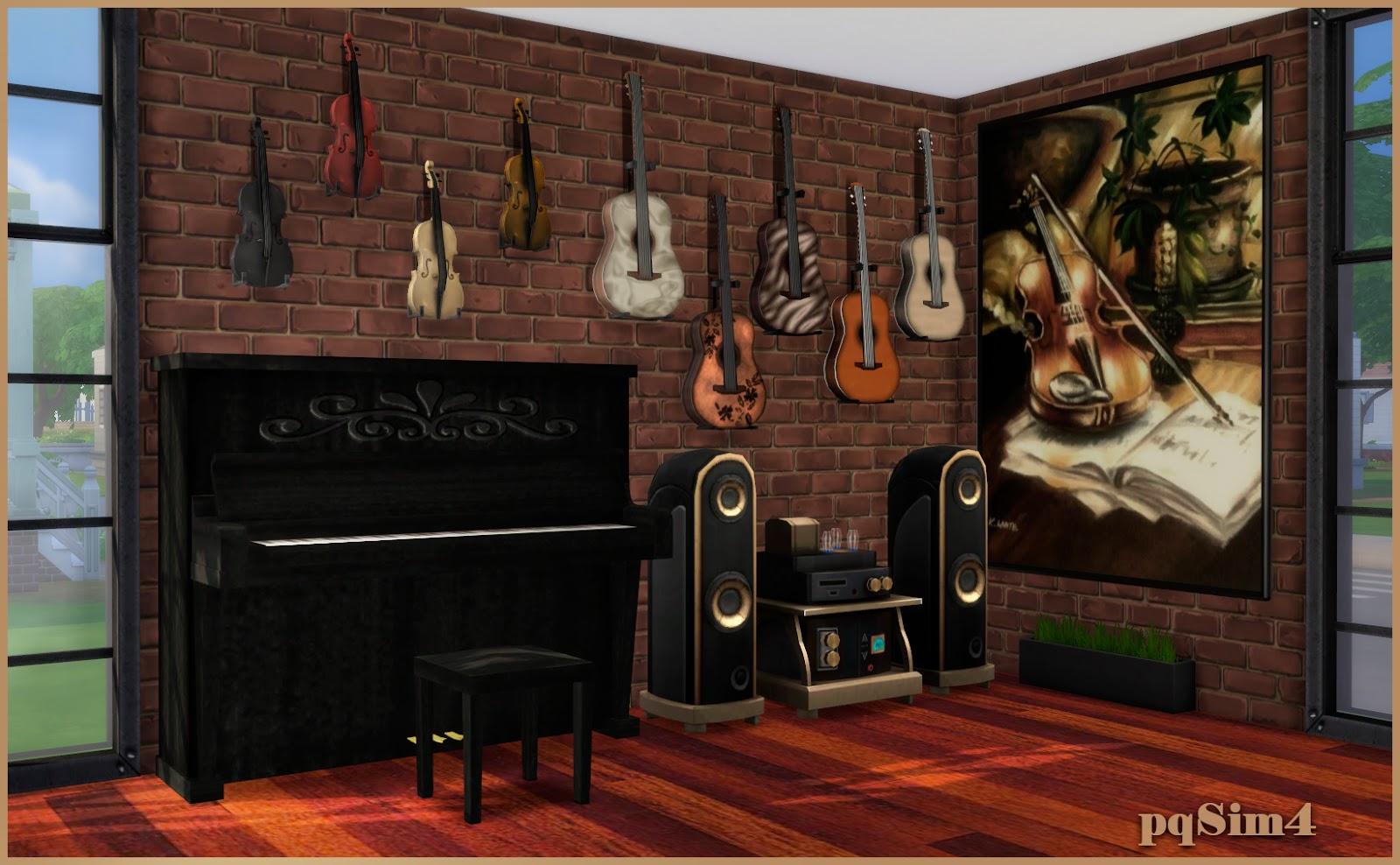 Sala de m sica cleo sims 4 custom content for Sala de estar sims 4