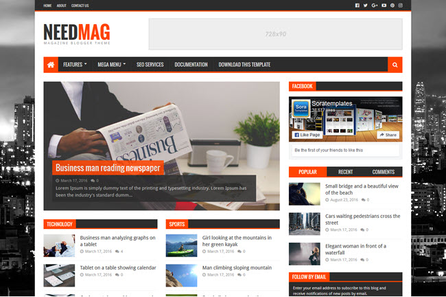 NeedMag - Responsive Magazine Blogger Template
