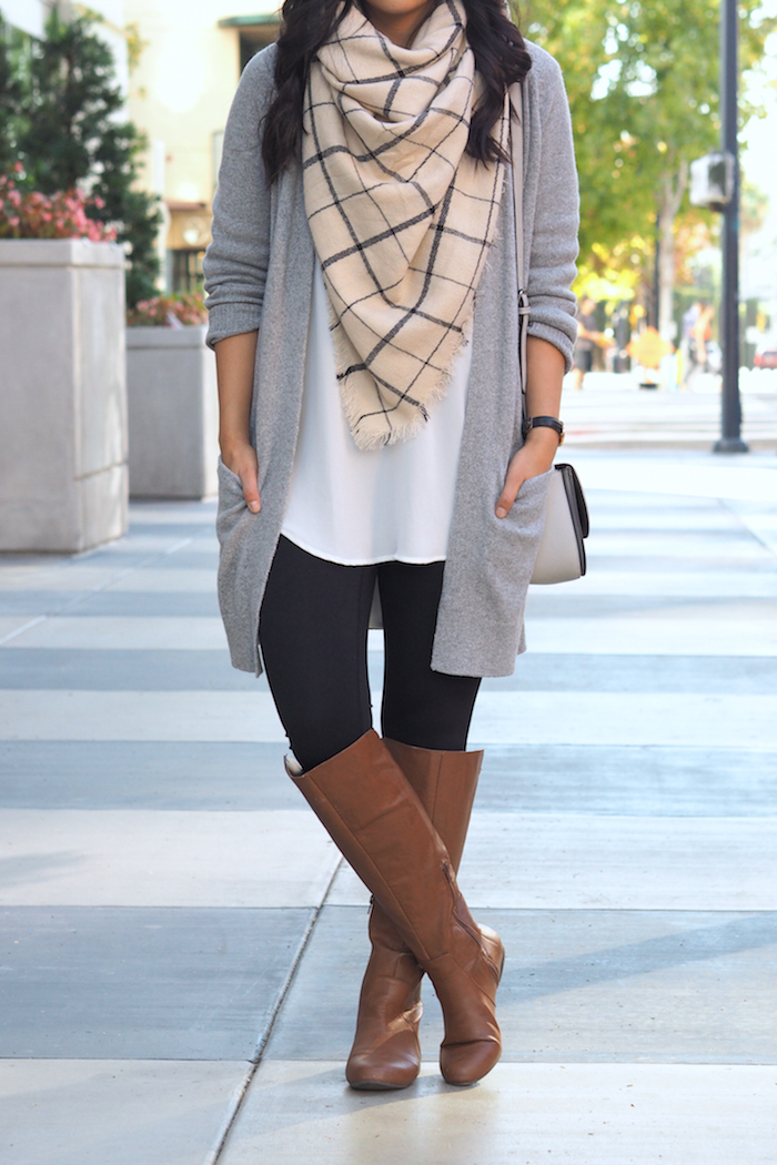 Cardigan + Leggings + white tunic + blanket scarf + riding boots