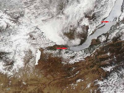 La posizione dei due cerchi di ghiaccio