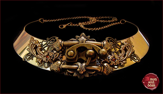 collier stempunk verrou cadenas lock necklace steampunk style fashion latch necklace fastener steampunk