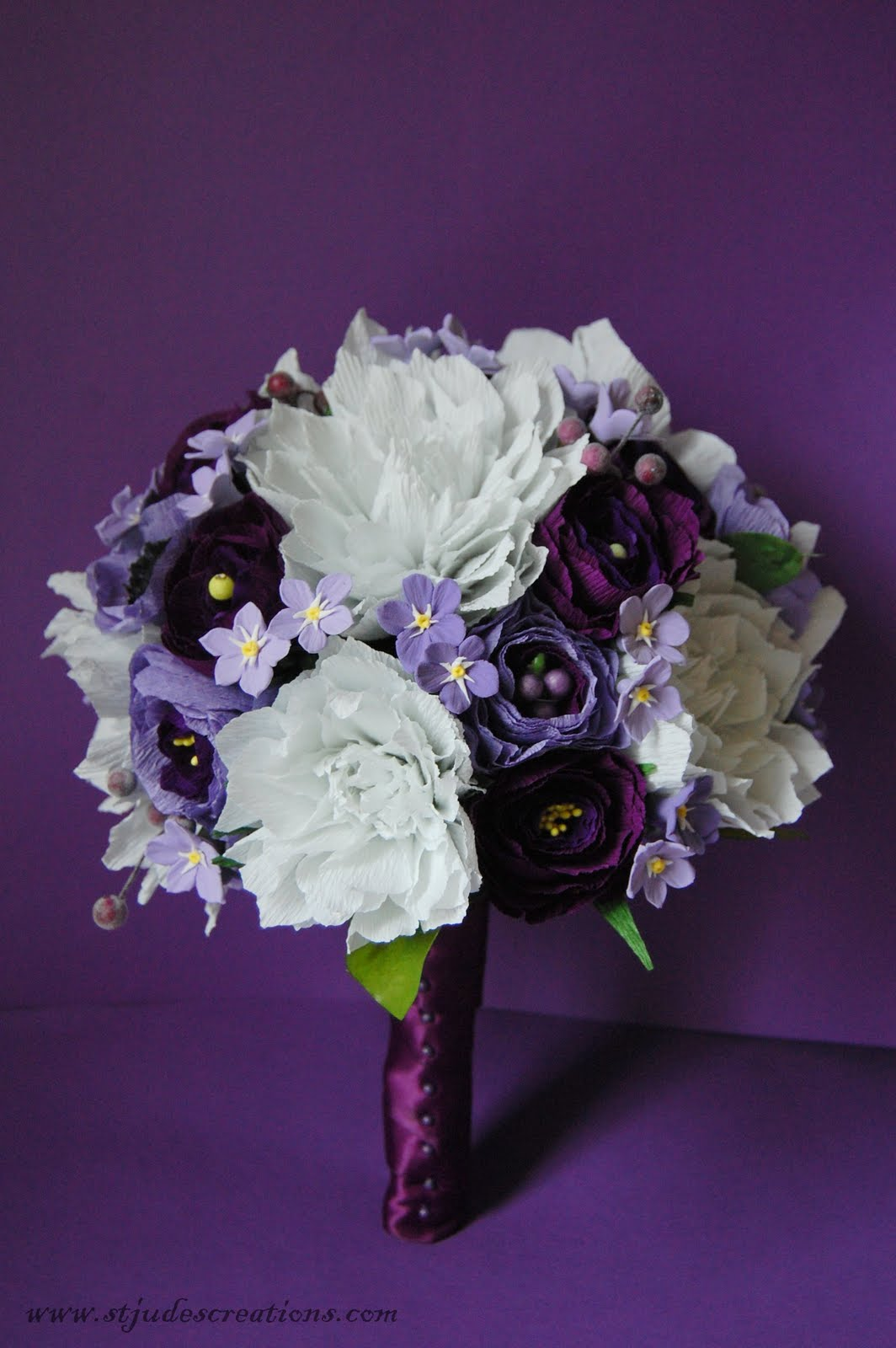 purple and lavender bridal bouquet dahlia ranunculus