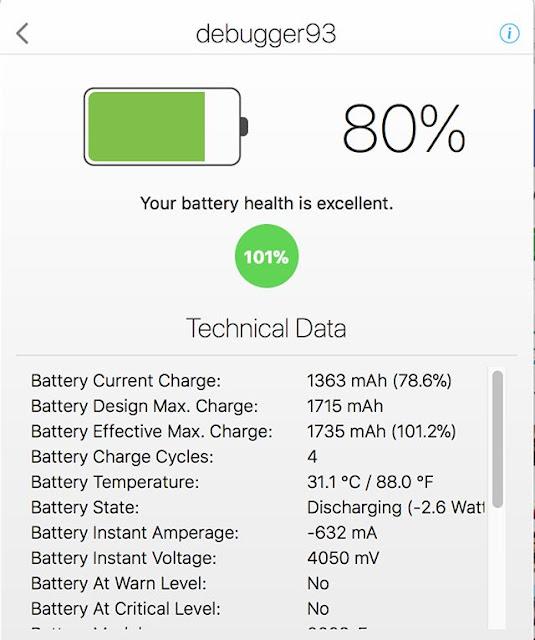 Baterai Iphone dan Data teknis - Pertanggal November2017