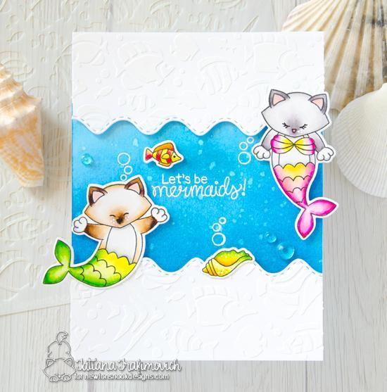 Purr-maid Cat Mermaid Card by Tatiana Trafimovich | Purr-maid Newton Stamp Set by Newton's Nook Designs #newtonsnook #handmade