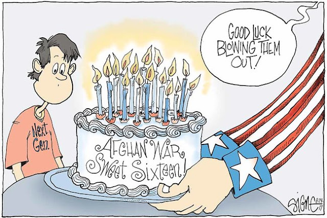 Uncle Sam's arms handing a cake with burning candles labeled