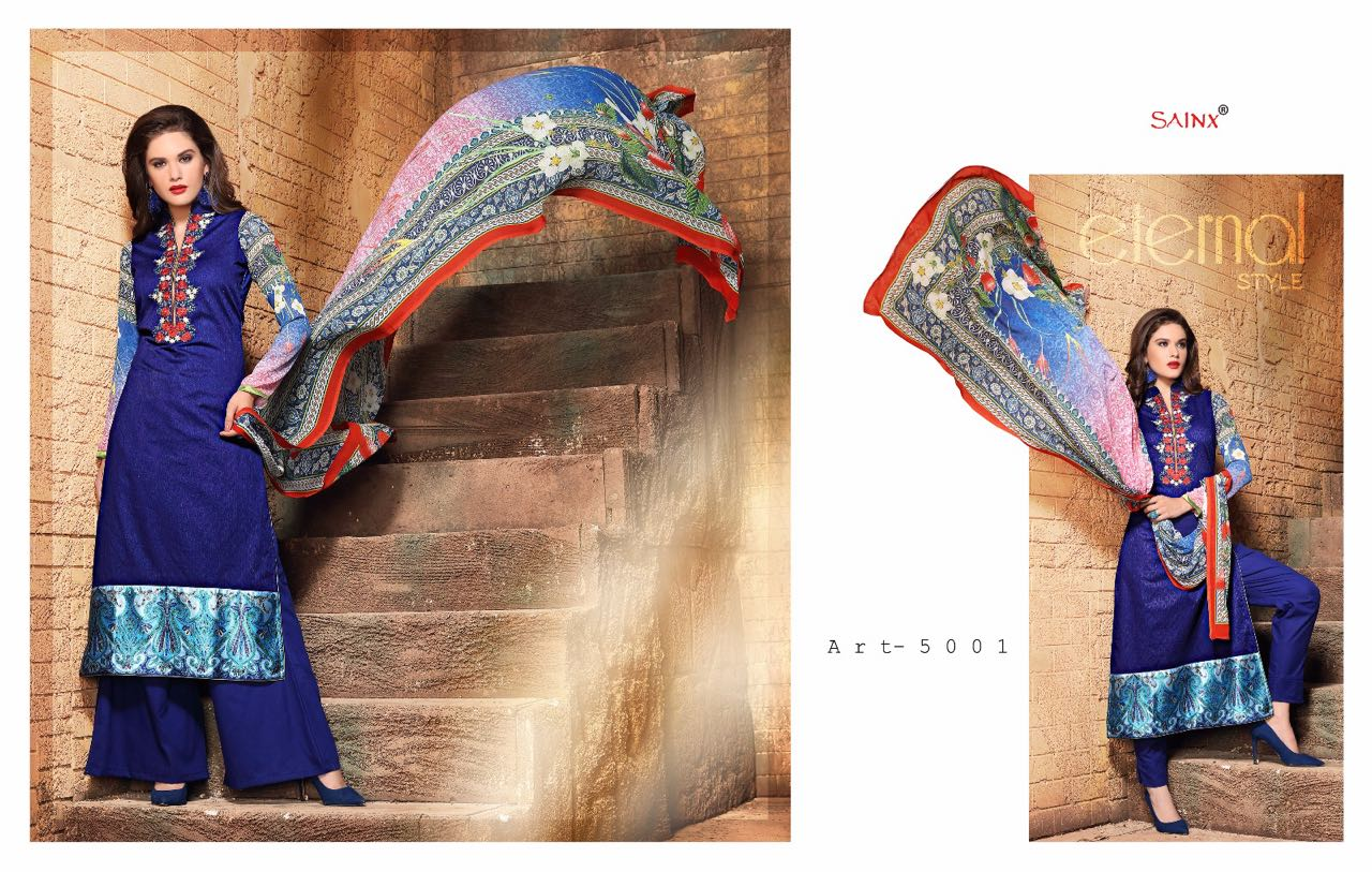 Western-Designer Cotton Lapet jecord with Heavy  Embroidery Work Salwar Suit