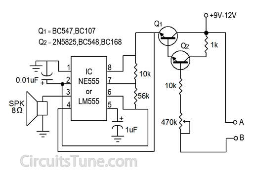 Water Sensor Circuit Diagram using IC 555 | CircuitsTune