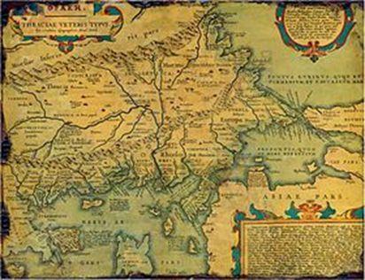 Harta Traciei Antice, după Abraham Ortelius, 1585